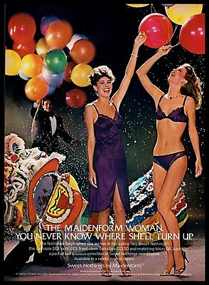 ac8f0334bf5e6 1982 Maidenform VINTAGE AD Sweet Nothings Panties Bra Colorful Festival  Balloons