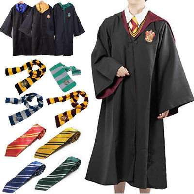 Harry Potter Gryffindor Slytherin Robe Krawatte Schal Wand Cosplay Kostüm