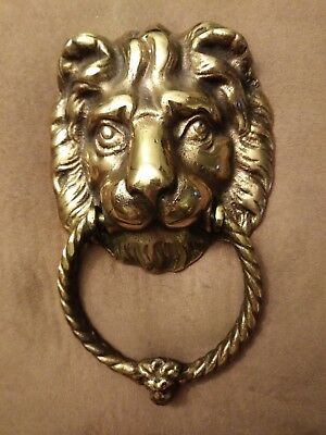 Vintage Brass Lion's Head Door Knocker, Excellent Condition.
