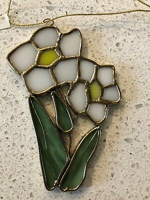 Stained Glass Daisy Flower Hanging Window Ornament Yellow & White