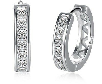 925 Sterling Silver Hoops Huggie Cz Inlay Earrings Women's Jewellery Aus Ladies