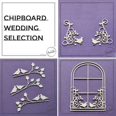 Wedding Ornaments Chipboard Shapes Love Birds Frame Cardmaking Craft