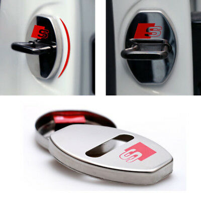 4 Pcs S Line Car Door Lock Cover Alloy Buckle Badge Alloy Decal FIts For Audi
