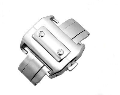 18mm/21mm 316L Steel Silver Deployment Buckle Metal Clasp For Cartier Santos 100