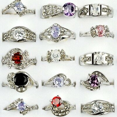 Wholesale Mixed Lot of 10/30pcs Women CZ Zircon Crystal Silver Plated Band Rings