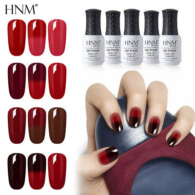 Nail Gel Polish Soak Off UV LED Thermal Color-changing Red Color Collection HNM