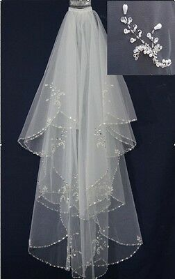 2018 White/Ivory 2T Wedding Bridal Veil with Comb Handmade beaded Beads Pearl