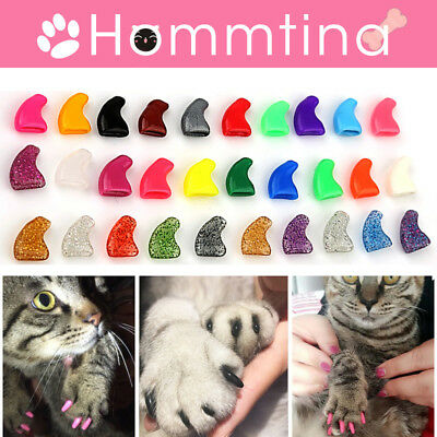 100PCS Cat Soft Rubber Nail Claws Dog Puppy Paws Silicon Nail Caps +Glue