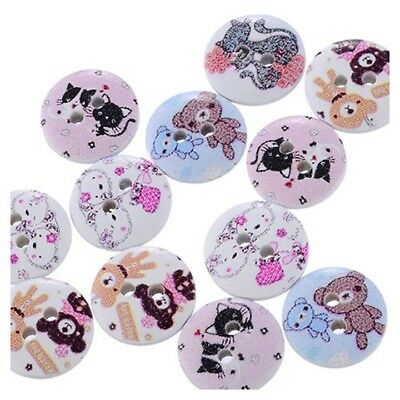 100 Pcs Wood Sewing Buttons 2 Holes Animal Pattern Round Mixed 15mm Dia. FP