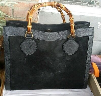 Vintage 90s Gucci  suede/leather handbag with bamboo handles