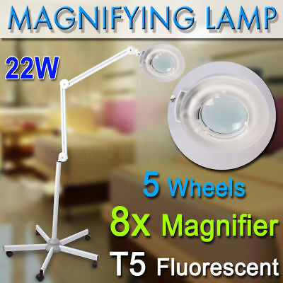 Magnifying Lamp Glass Lens Round Head 8x Magnifier Fluorescents Bulbs On Stand