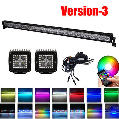 "50Inch LED Light Bar + 2x 3""  Pods Offroad RGB Angel Eyes Halo Chasing APP"
