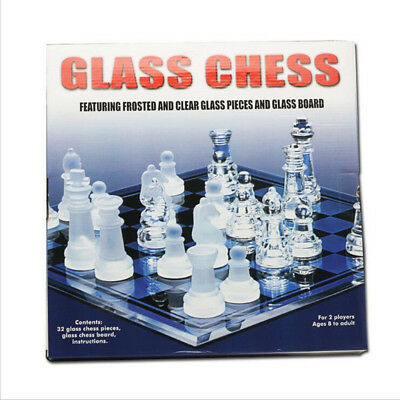 New Solid crystal Chess With Checker Board Set Matte And Clear Glass Chess Game