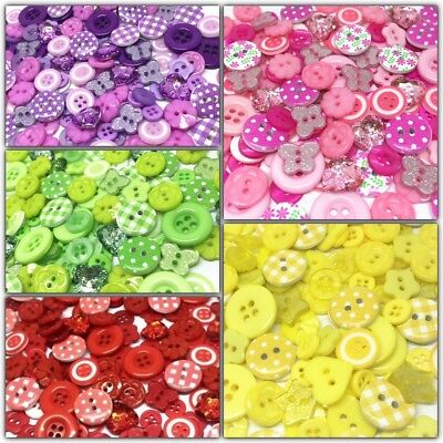 300 Variety Mix Wood Acrylic Resin Buttons For Cardmaking Embellishments Craft