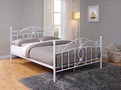 White Solid Metal Bed Frame 5FT King French Shabby Chic King Size High Footend