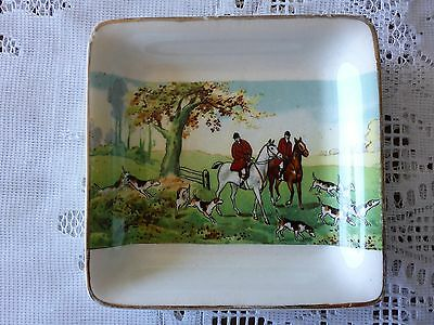 Midwinter Porcelon Burslem England Square Pin Dish Hunting Scene 1946-1953.