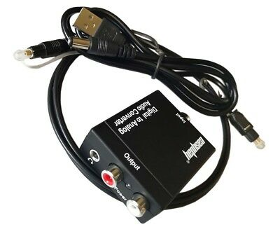 Digital Optical Coax Coaxial Toslink to Analog Audio Converter Adapter RCA 3.5mm