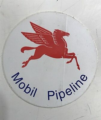 """Mobil Gas Oil Red Flying Pegasus Round  Decal Sticker), """"Mobil Pipeline"""" In Blue"""