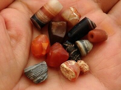 Ancient Tibetan Beads Etched Carnelian King Solomon Agate All Damaged