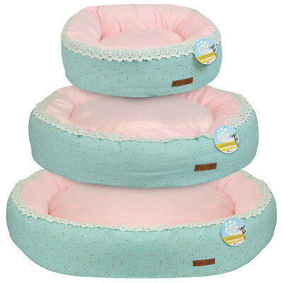 Me & My Pets Round Pink Bed Girly Floral Luxury Soft Dog/puppy/cat Donut S/m/l
