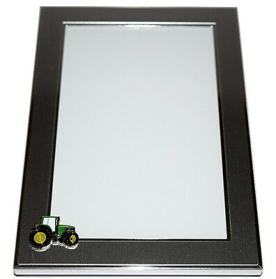 John Deere Green Tractor Picture Frame BOXED emblem Farming Gift Brushed Silver