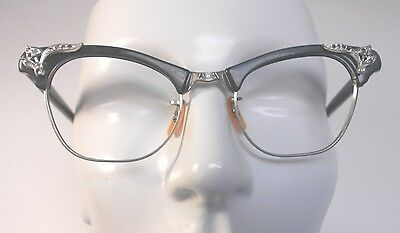 Vintage Artcraft Cat Eye 1/10 12K White Gold Filled Eyeglasses New