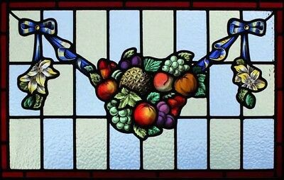 Beautiful Painted Edwardian Lily & Fruit Swag Stained Glass Window