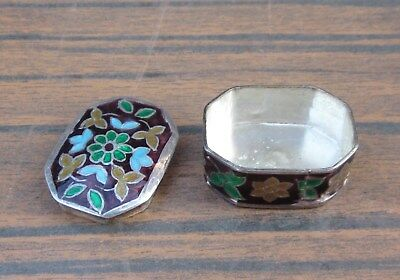 ANTIQUE VINTAGE CUSTOM MADE STERLING SILVER and FLORAL ENAMEL SNUFF PILL BOX