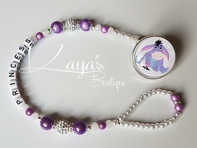 *Eeyore* Bling Baby Purple Shamballa Romany Dummy Clip Girl *Any Name*