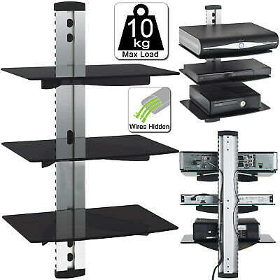 3 Tier Silver Glass Floating Wall Mount Shelf DVD Player Sky Box Game Console UK