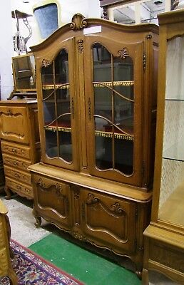 Louis Xv Style French Carved Oak Vitrine Glazed Display Cabinet - (Cob179)