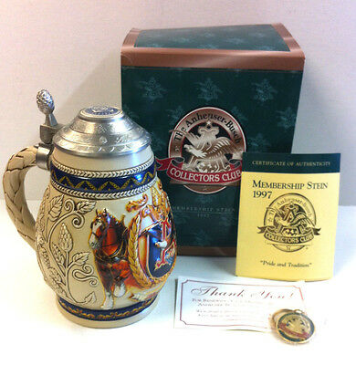 "1997 Anheuser Busch Membership ""Pride and Tradition"" Stein CB5...NIB & COA"