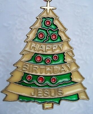 Vintage Stained Glass Style Christmas Tree Sun Catcher Ornament Religious