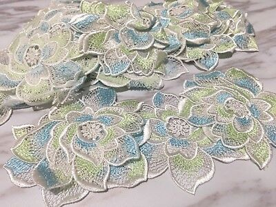 10pcs Flower Venise Lace Embroidery Applique Motif Tutu Dance Costume 9*10cm