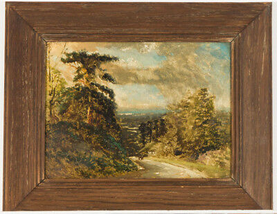 English School Early 20th Century Oil - Country Landscape with Figure on a Path