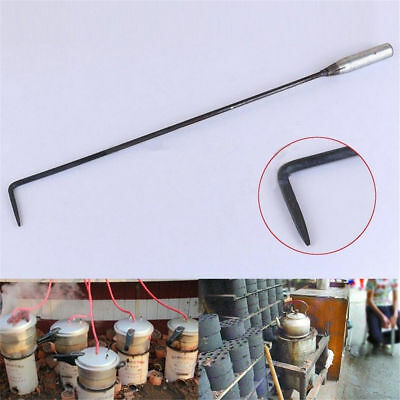 50cm Long Steel Fire Poker Open Hook Pit Fireside Fireplace Coal Stove Tool