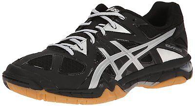ASICS Womens Gel Tactic Volleyball Shoe, Black/Silver, 6 M US