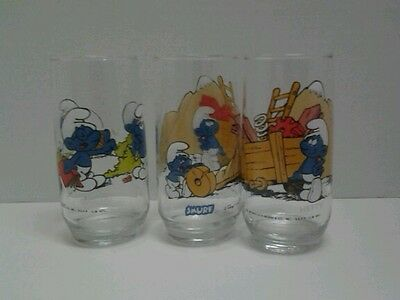 Set of 3 Smurfs glasses VHTF