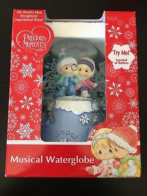 Precious Moments Musical Waterglobe New Let it Snow Kids Boy & Girl
