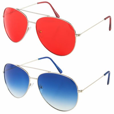 CLASSIC AVIATOR SUNGLASSES Blue Red Yellow Color Tinted Lens Silver ...