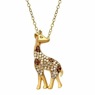 Crystaluxe Giraffe Pendant with Swarovski Crystals in 14K Gold-Plated Silver