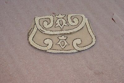 Handmade In France Beaded Purse Clutch Wallet White