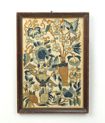 Old or Antique Chinese Embroidery with Vases and Flowers - Silk Gold- VR