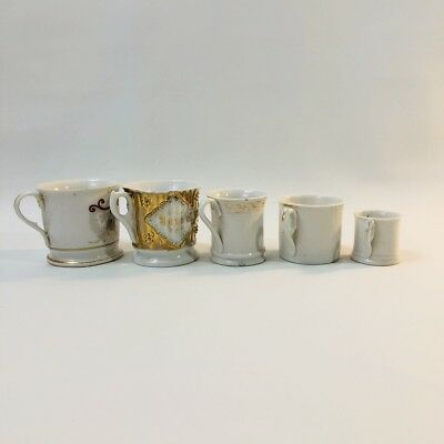 Antique Forget Me Not Porcelain Coffee Mugs Cups Graduated Set Of 5
