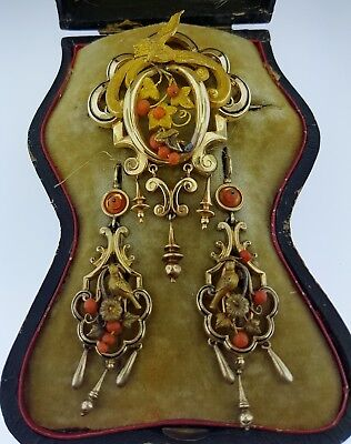 Fabulous~Mid-Victorian~Antique 15K Gold+Coral~Large Brooch+Drop Earrings Set~WOW