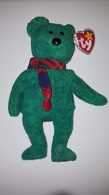 """CHRISTMAS Ty Beanie Baby """"WALLACE"""", Bear, 1999, P.E. PELLETS,  RETIRED New w/TAG"""