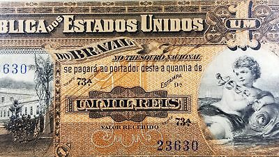 Brazil Thesouro Nacional 1000 Reis 1917 Pick #5 Choice Unc 63 PMG Scarce