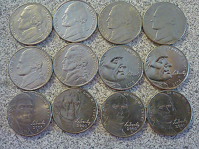 12 Coins!~6 different styles; 2000-2009  D (Denver Mint) Jefferson Nickel