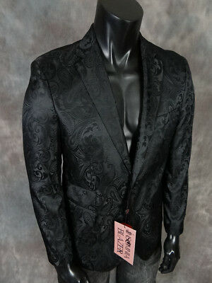 Mens INSOMNIA MANZINI Entertainer Event Sport Jacket Blazer Black Paisley