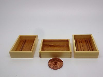 1:12 Scale 3 Large Wood Trays Crates Boxes Dolls House Miniature Accessories